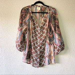 Anthropologie Fig & Flower Button Up Peasant Top